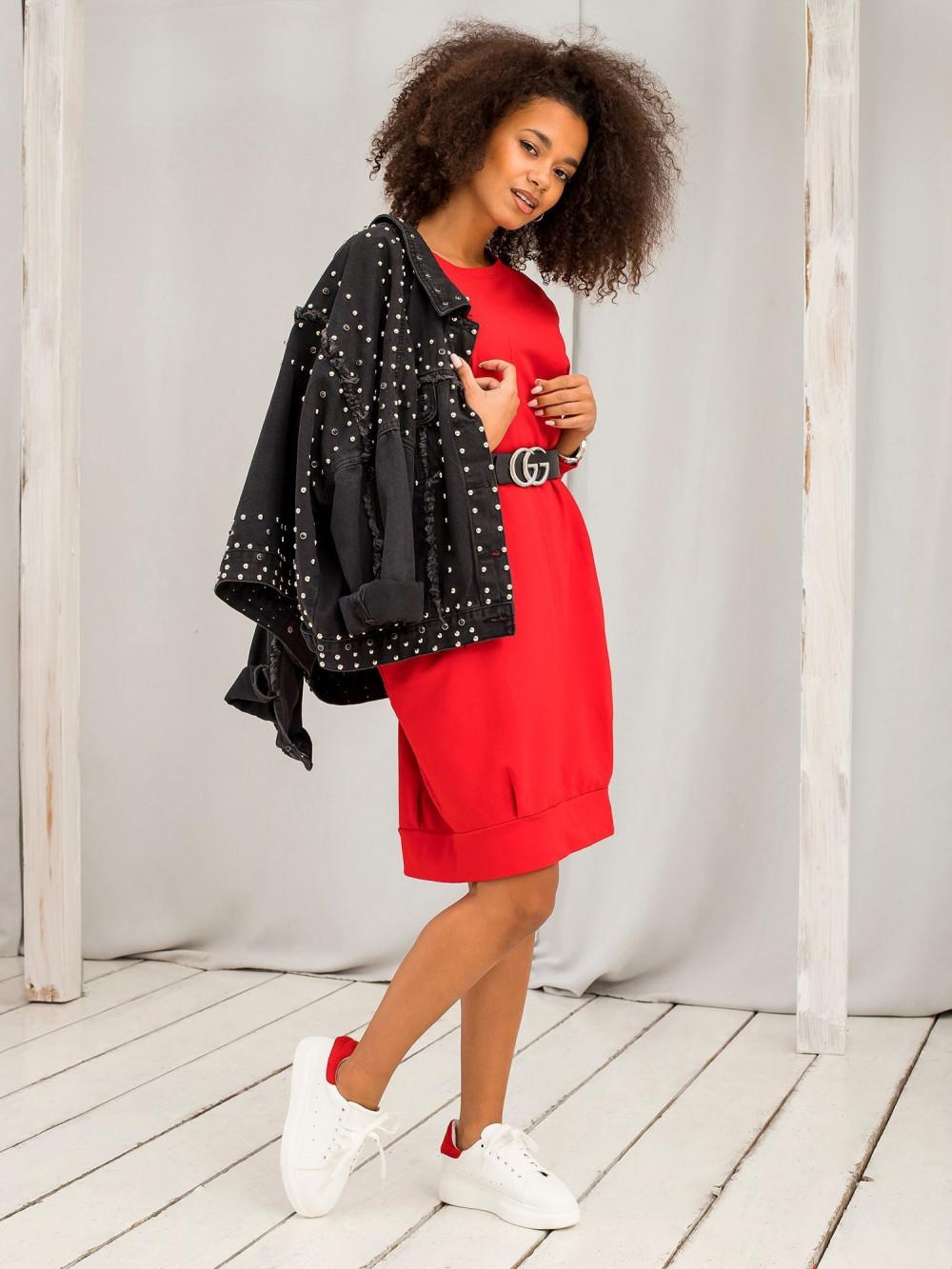 Czerwona sukienka bluza Lukka 4
