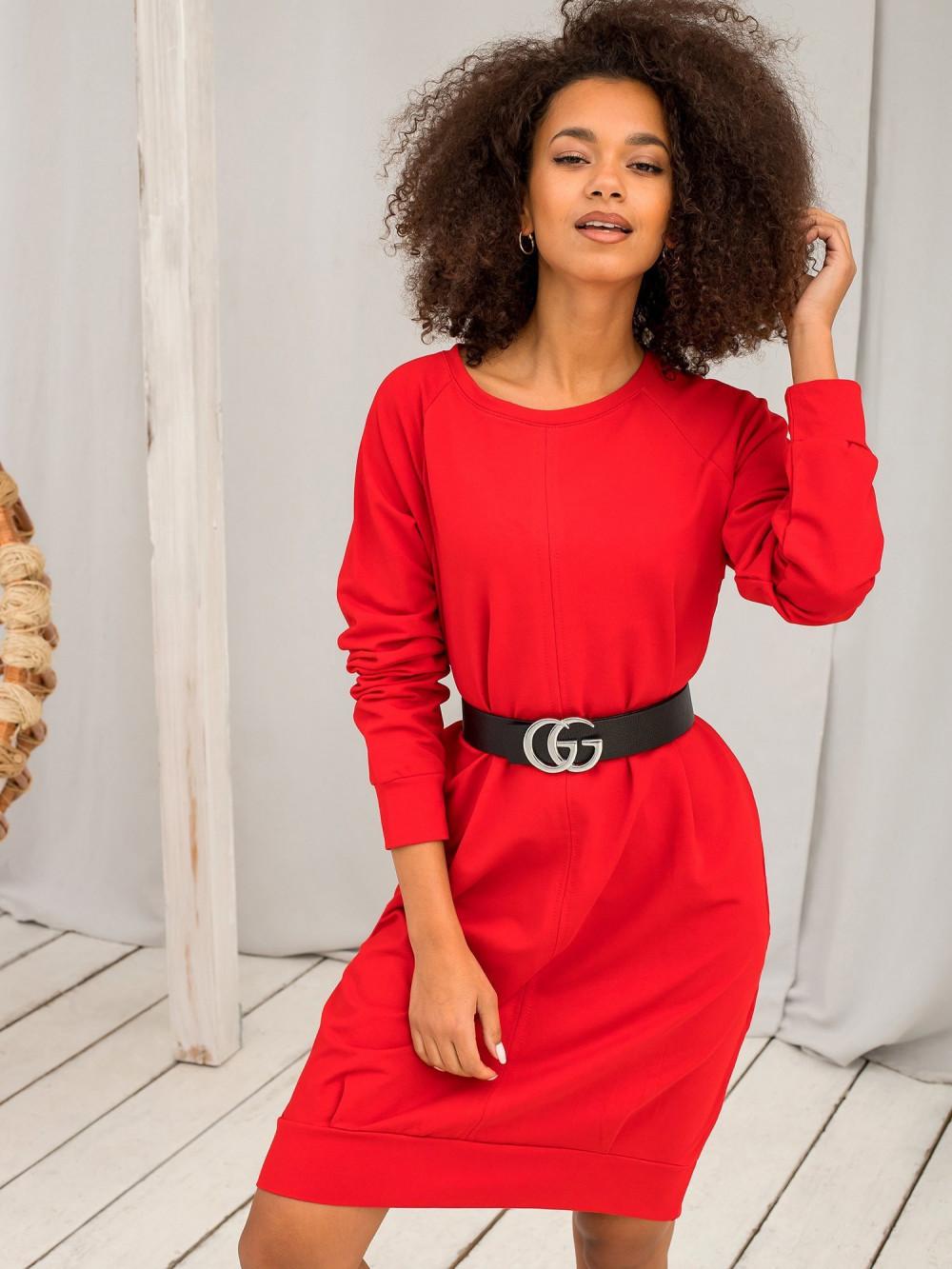 Czerwona sukienka bluza Lukka 5