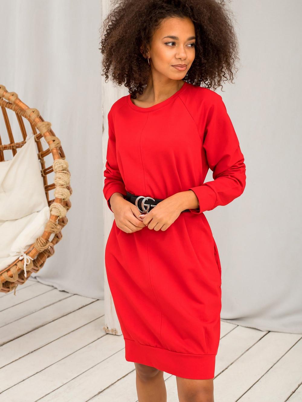 Czerwona sukienka bluza Lukka 6