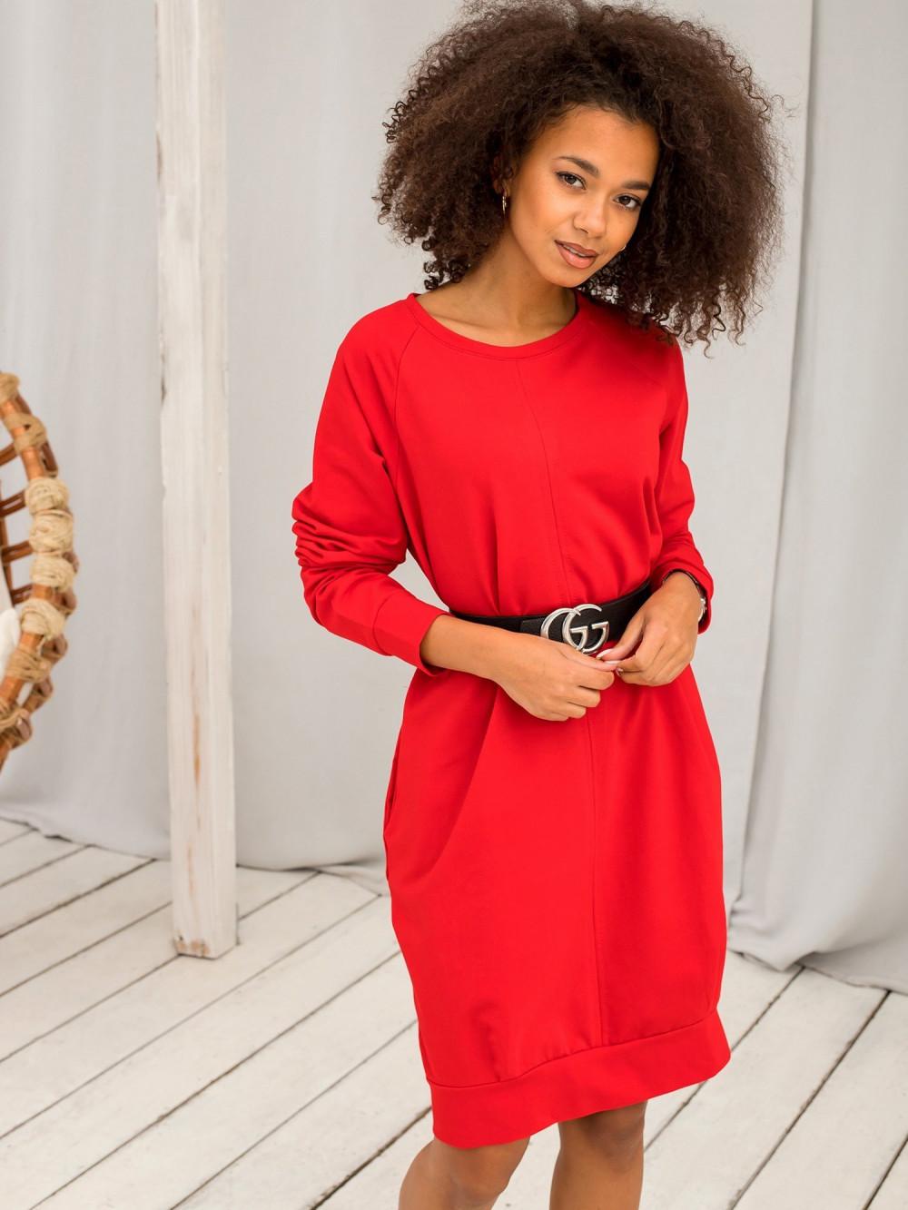 Czerwona sukienka bluza Lukka 7