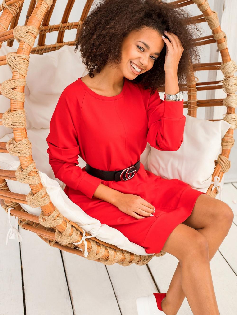 Czerwona sukienka bluza Lukka 8