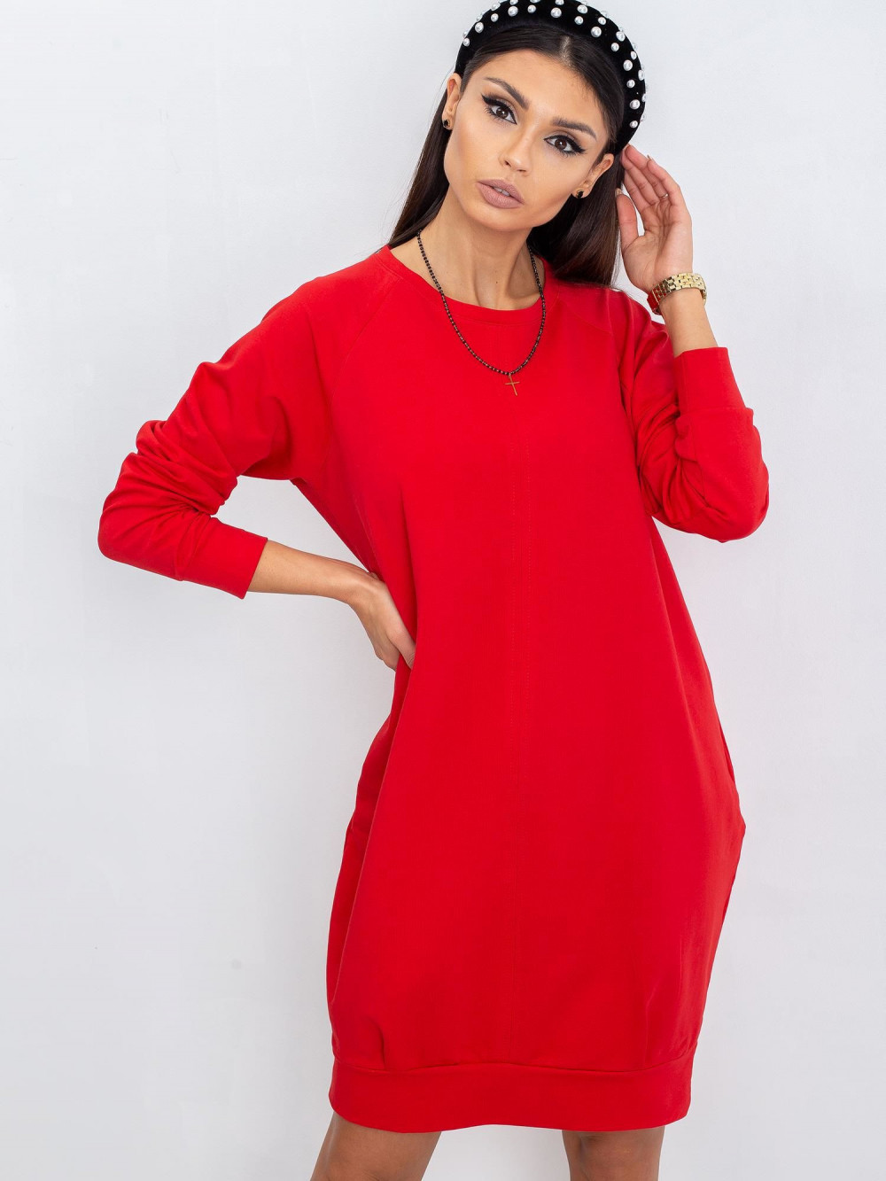 Czerwona sukienka bluza Lukka 9