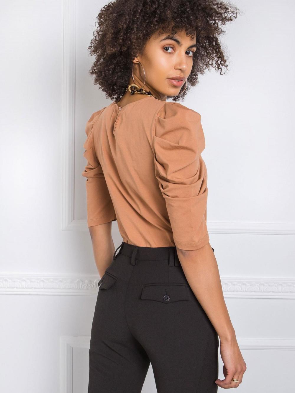 Brązowa bluzka z bufiastymi rękawami Chatou 1