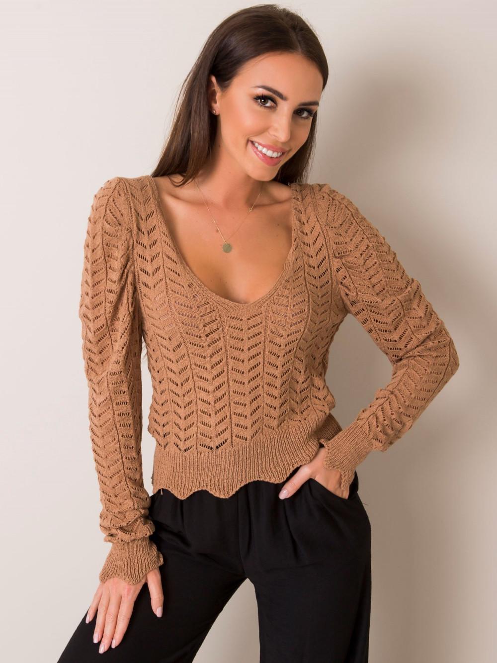 Karmelowy sweter ażurowy Rennes 1