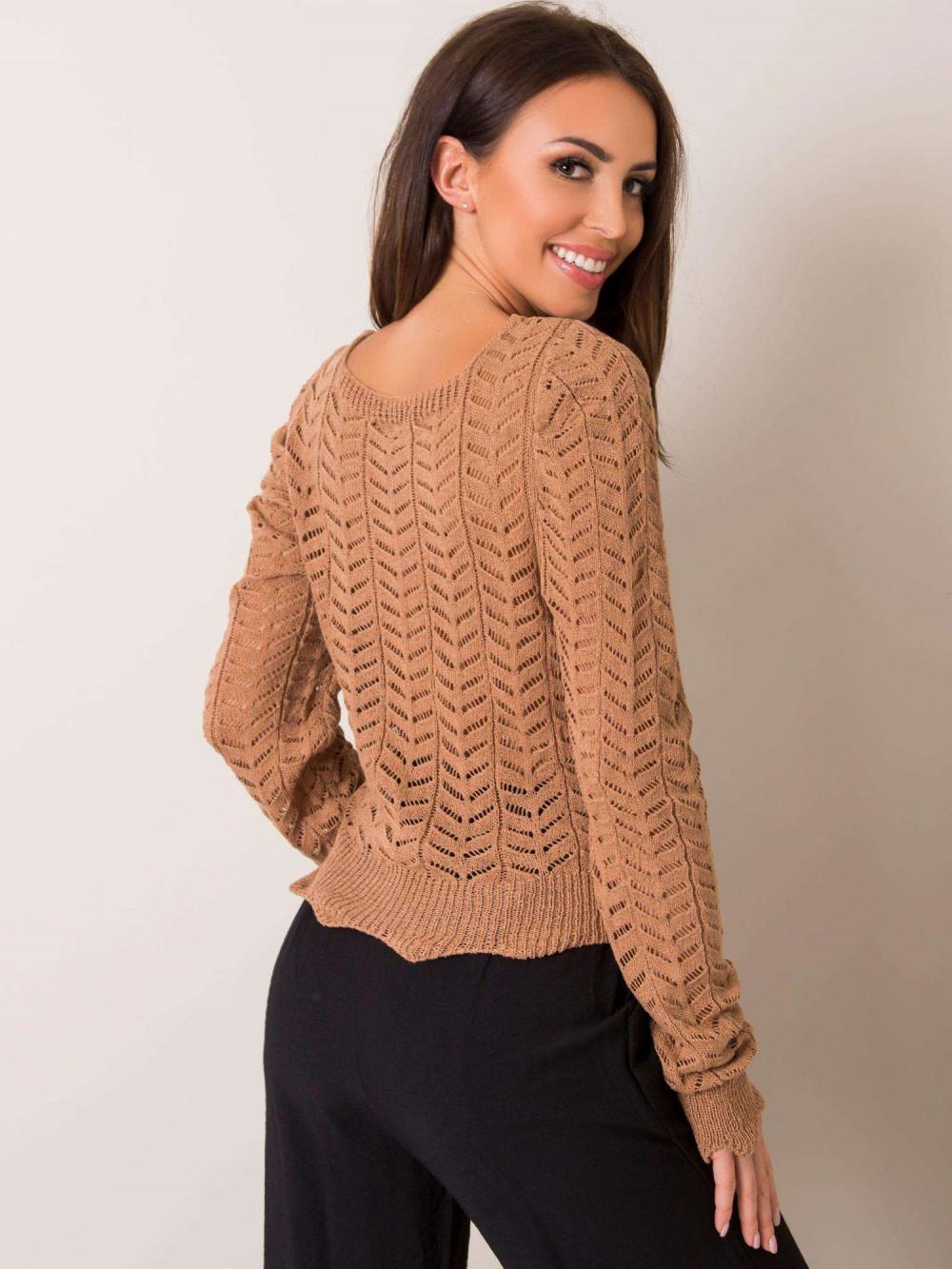 Karmelowy sweter ażurowy Rennes 2