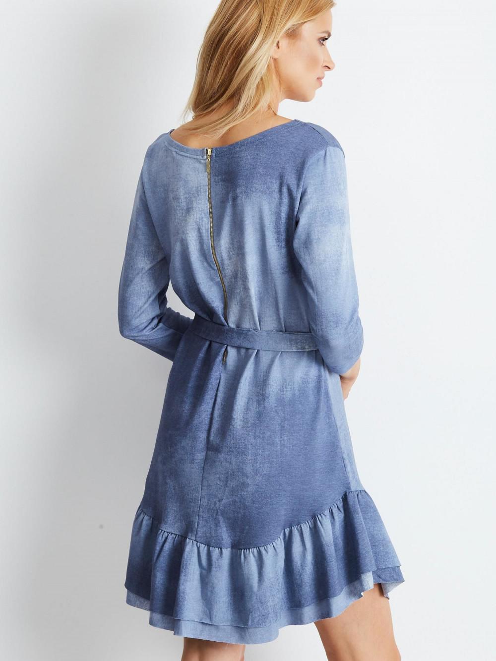 Niebieska sukienka rozkloszowana z falbanką Ermont 2