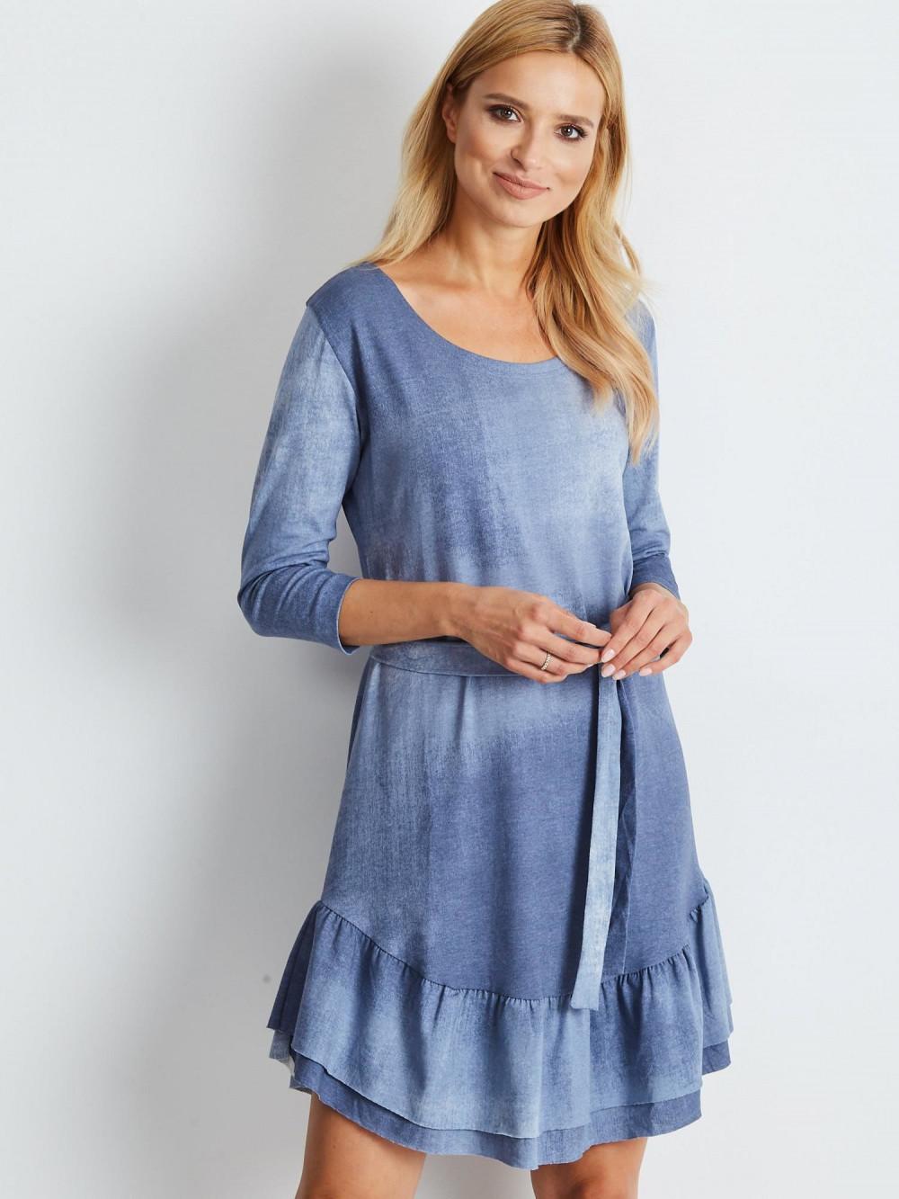 Niebieska sukienka rozkloszowana z falbanką Ermont 4