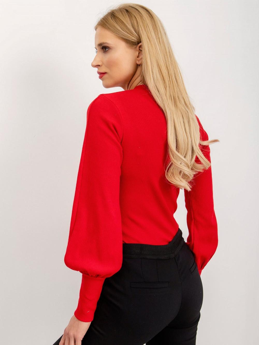 Czerwona bluzka z bufiastymi rękawami Fecamp 1