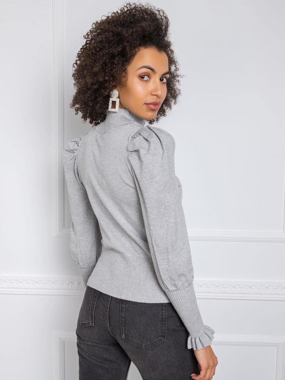 Szary sweter z bufiastymi rękawami Bondys 1