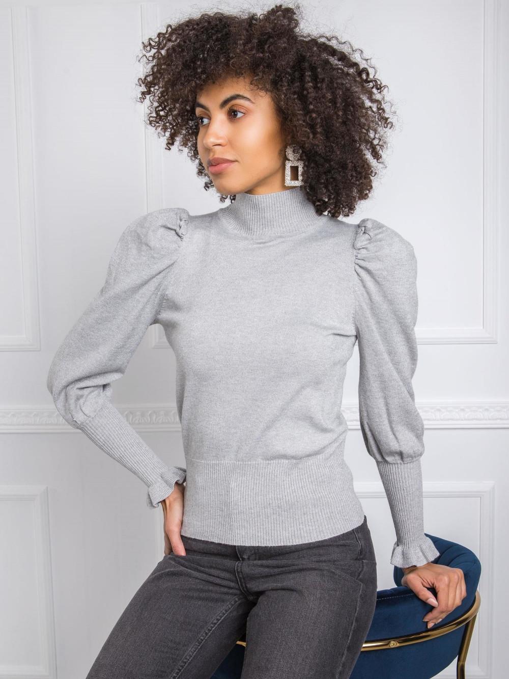 Szary sweter z bufiastymi rękawami Bondys 2
