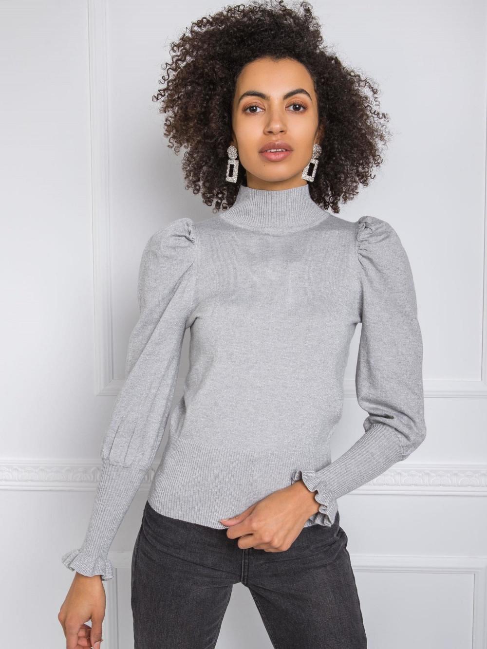 Szary sweter z bufiastymi rękawami Bondys 3