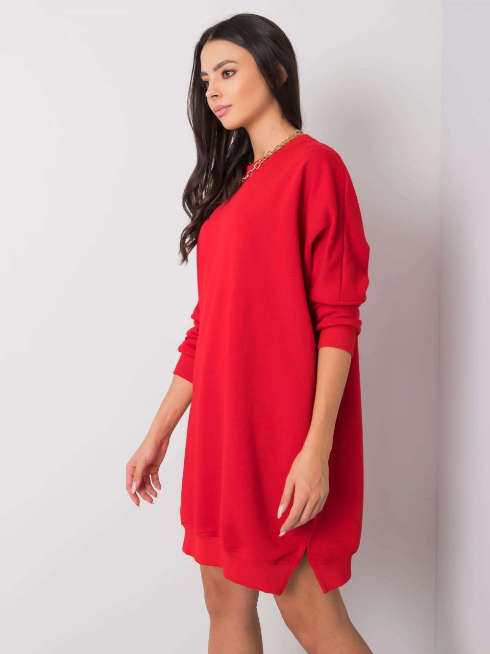 Czerwona sukienka bluza oversize Sassy 1