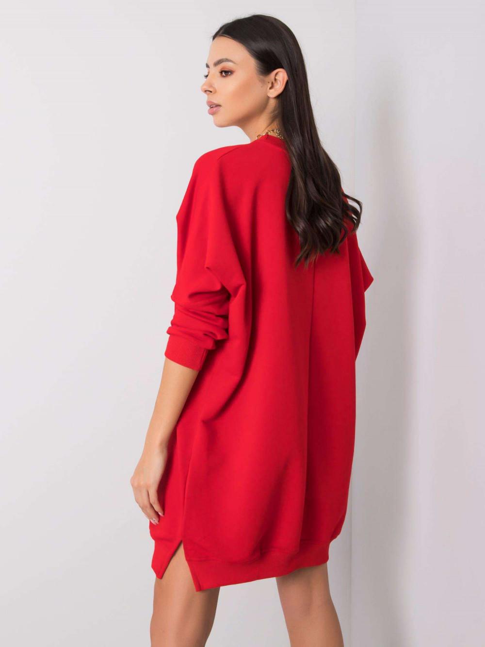 Czerwona sukienka bluza oversize Sassy 2