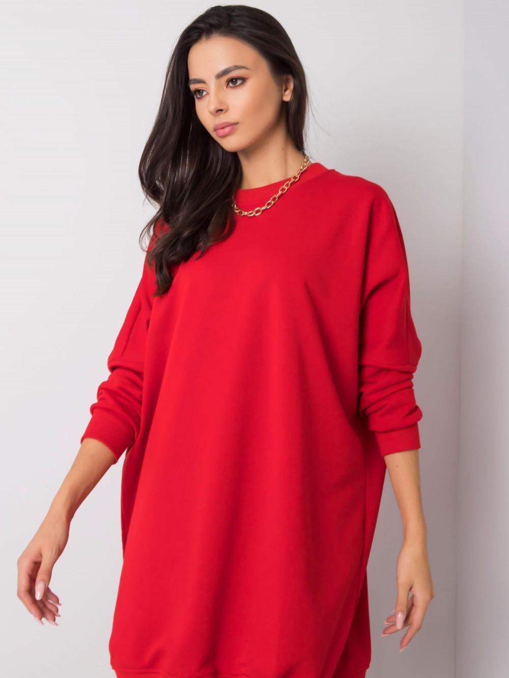 Czerwona sukienka bluza oversize Sassy 3