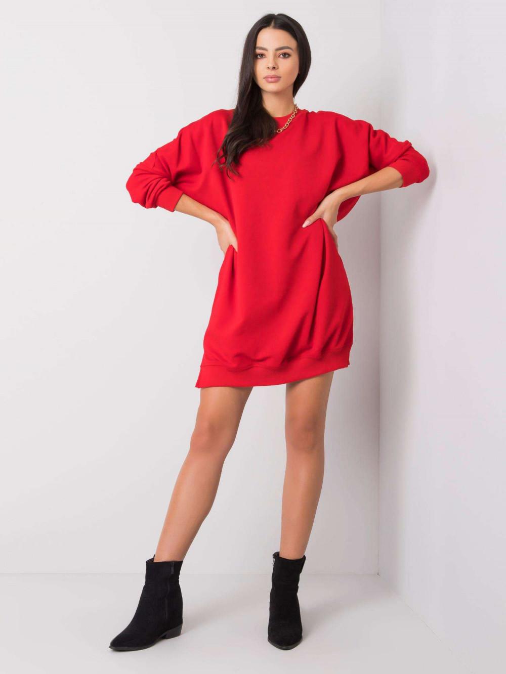 Czerwona sukienka bluza oversize Sassy 4