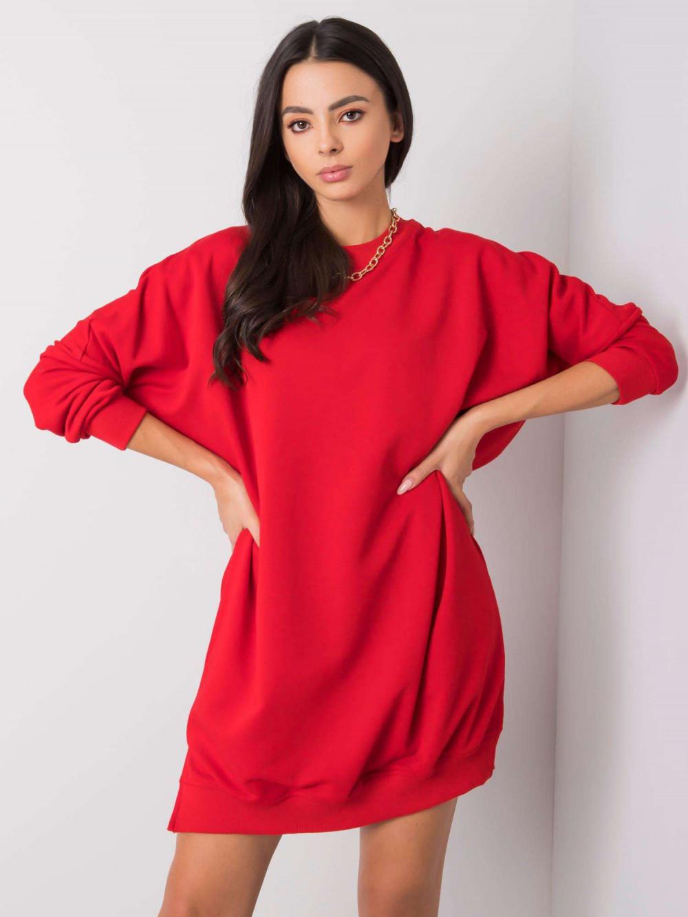 Czerwona sukienka bluza oversize Sassy 5