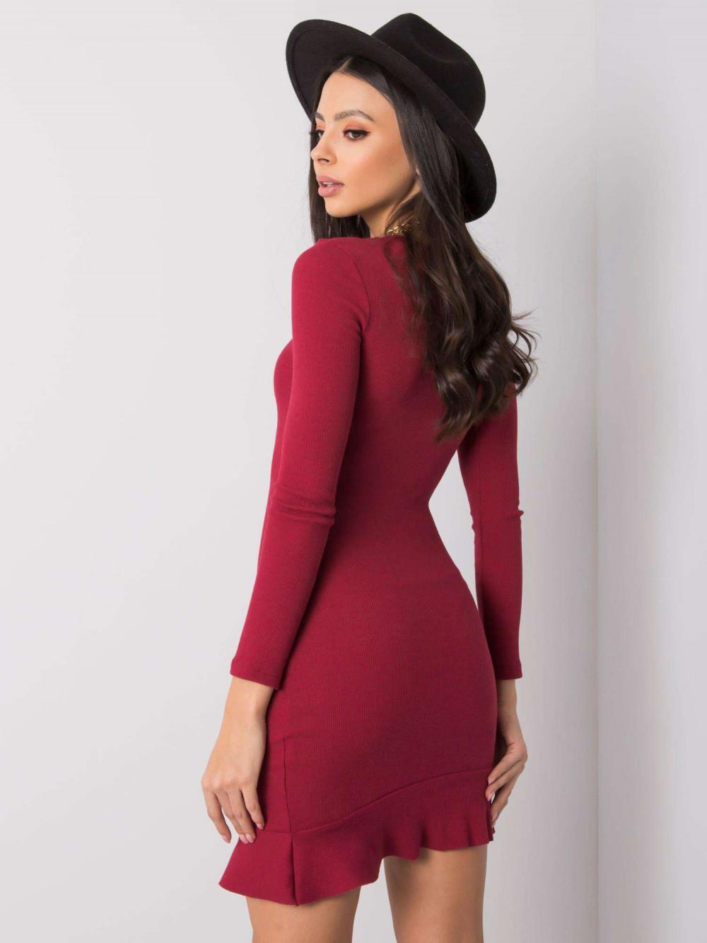 Bordowa sukienka z falbanką Rose 4