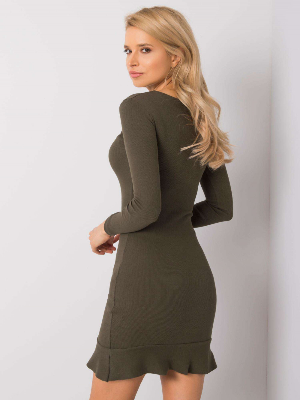 Khaki sukienka z falbanką Rose 4