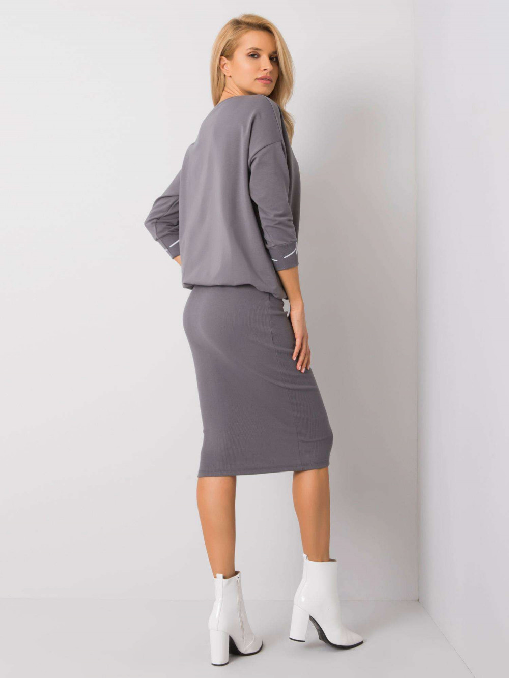 Szara ołówkowa spódnica midi Chara 3