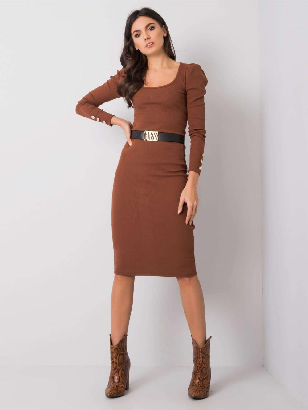Brązowa ołówkowa spódnica midi Chara 2
