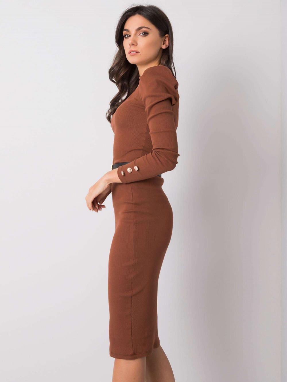 Brązowa ołówkowa spódnica midi Chara 3