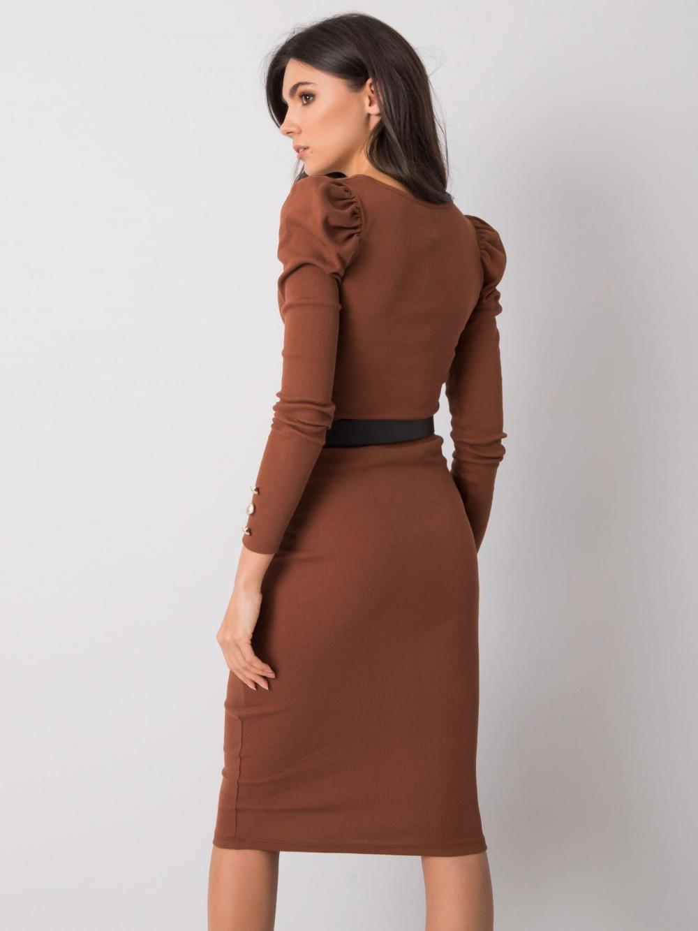 Brązowa ołówkowa spódnica midi Chara 4
