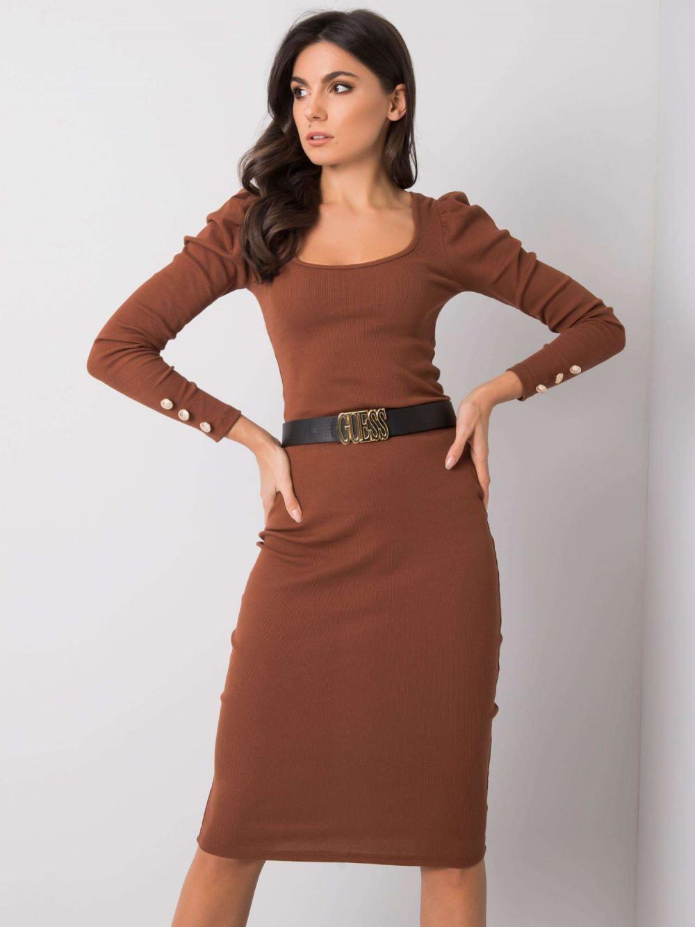 Brązowa ołówkowa spódnica midi Chara 1