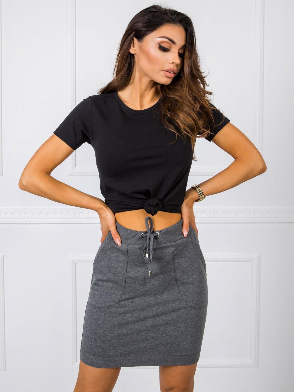 Ciemnoszara dresowa spódniczka z kieszeniami Dahlia 1