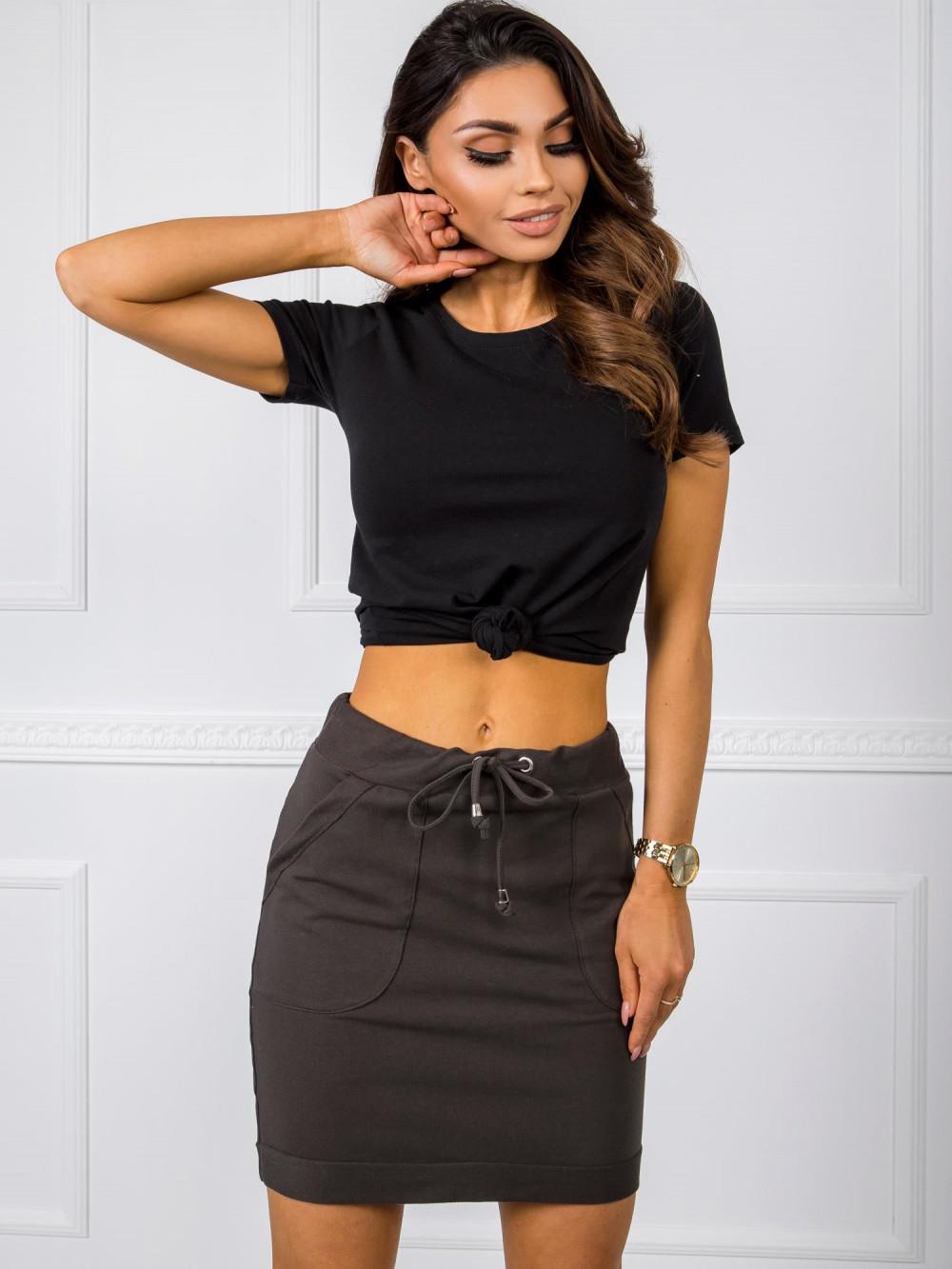 Khaki dresowa spódniczka z kieszeniami Dahlia 1