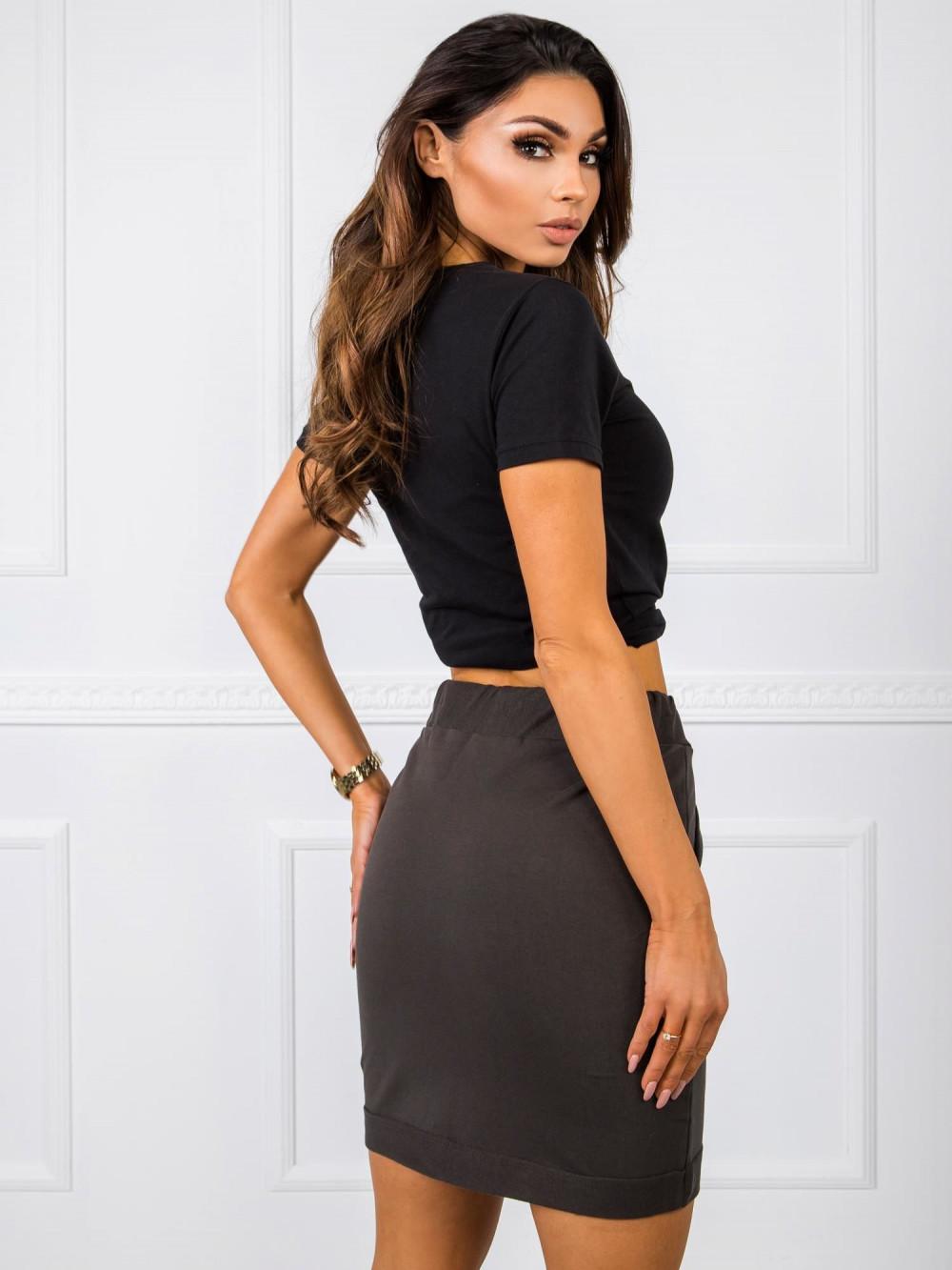 Khaki dresowa spódniczka z kieszeniami Dahlia 3