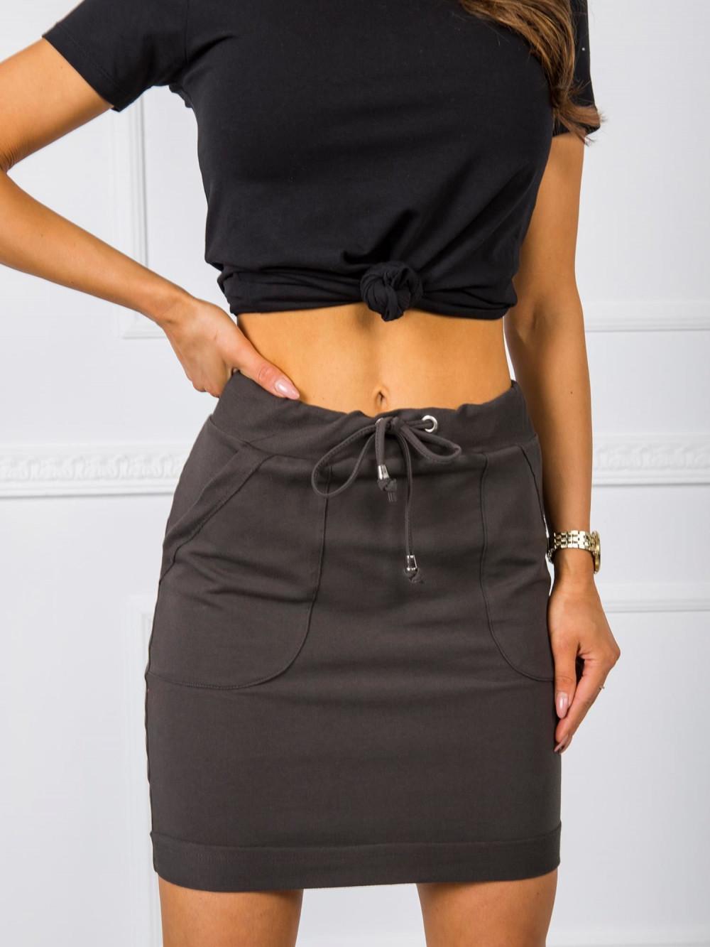 Khaki dresowa spódniczka z kieszeniami Dahlia 2