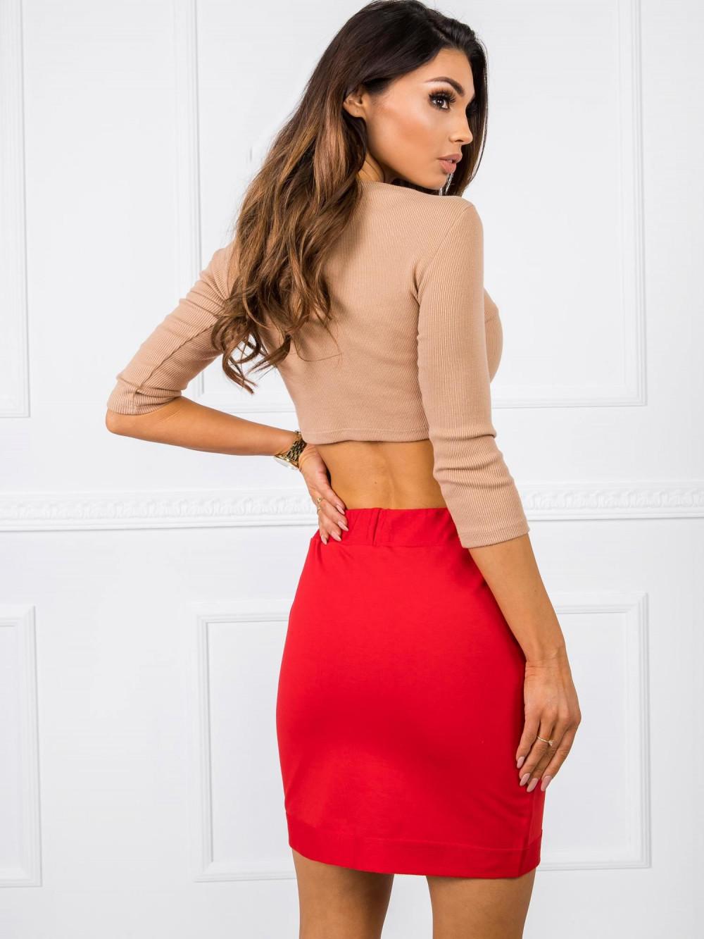 Czerwona dresowa spódniczka z kieszeniami Dahlia 3