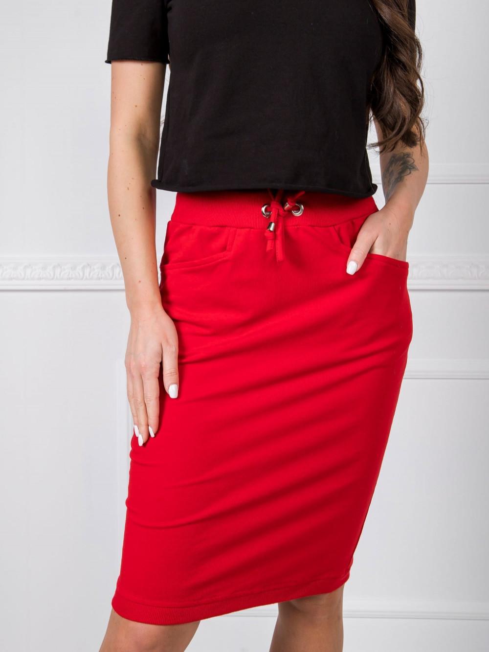 Czerwona spódnica dresowa z wycięciem Orchid 2