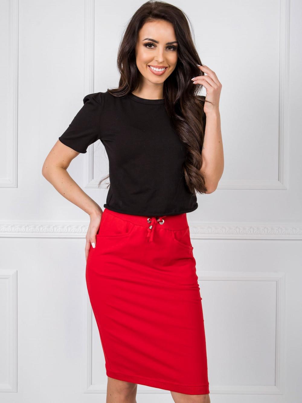 Czerwona spódnica dresowa z wycięciem Orchid 1