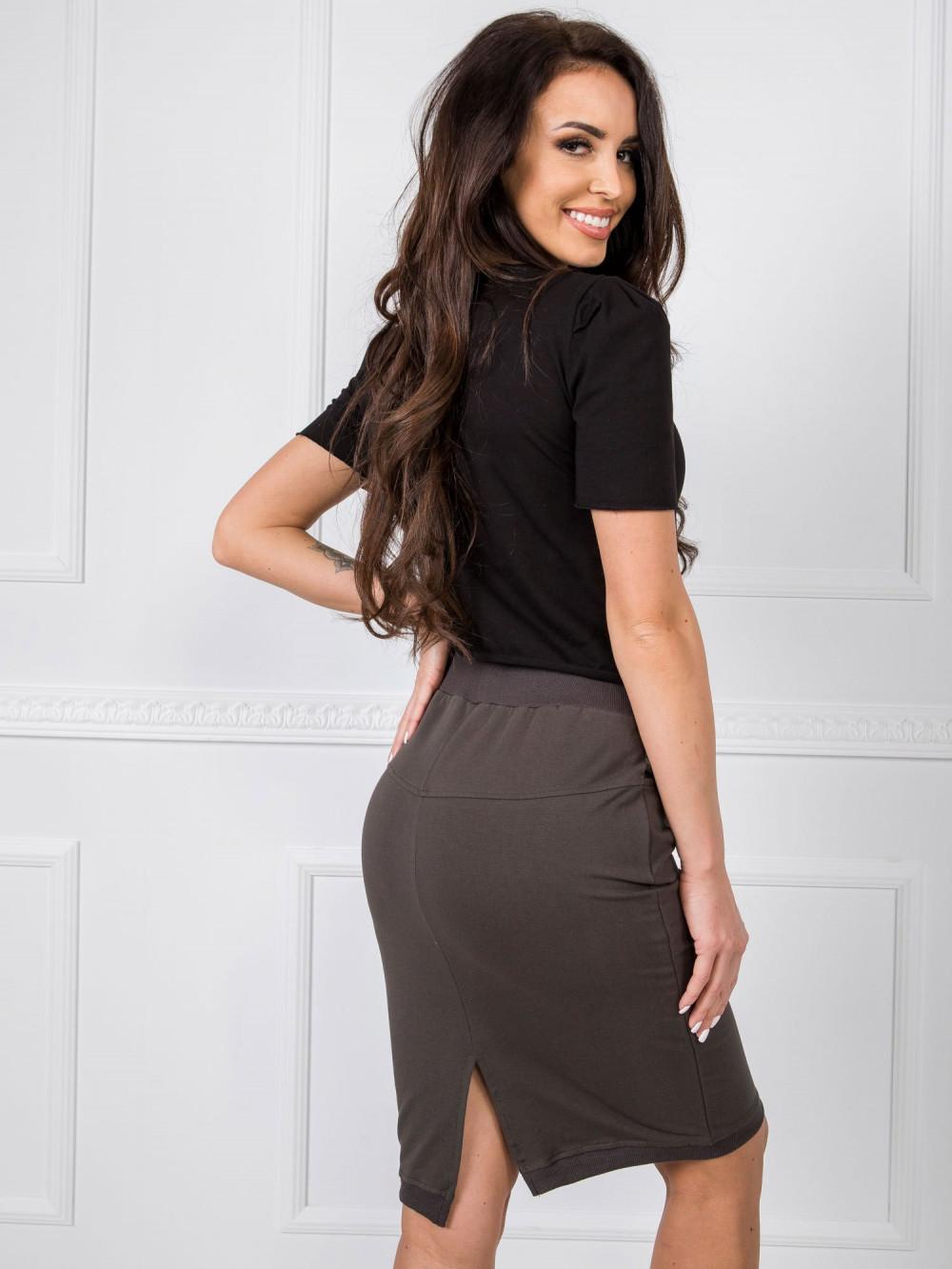 Khaki spódnica dresowa z wycięciem Orchid 3