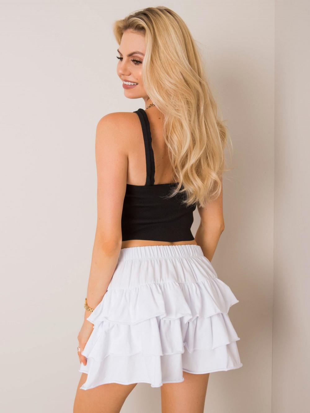 Biała spódniczka z falbankami mini Mari 2