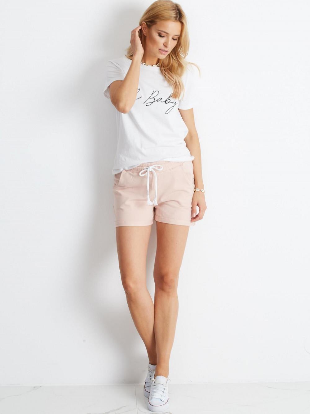 Różowe szorty damskie z wiązaniem Edel 1