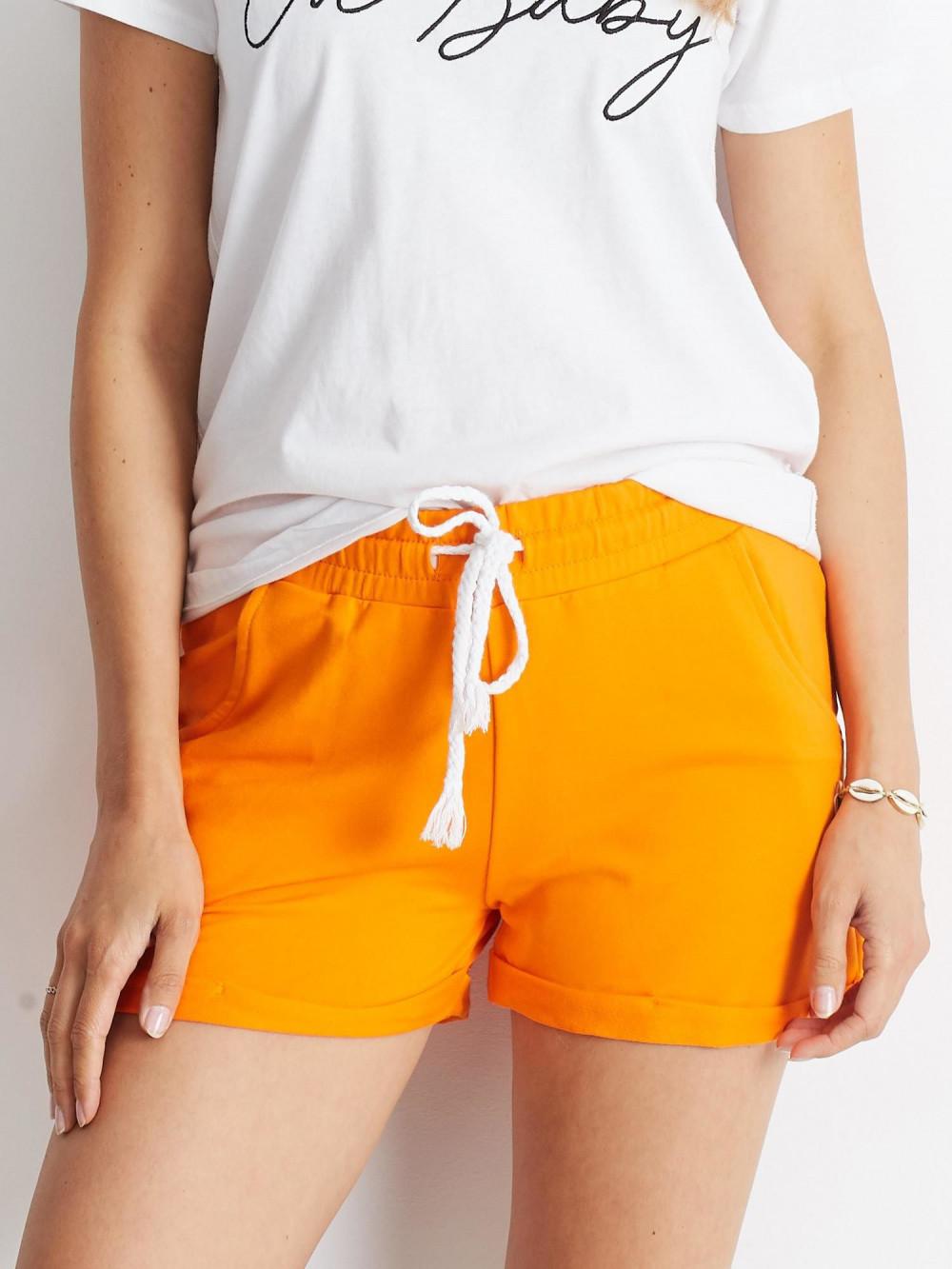 Pomarańczowe szorty damskie z wiązaniem Edel 3