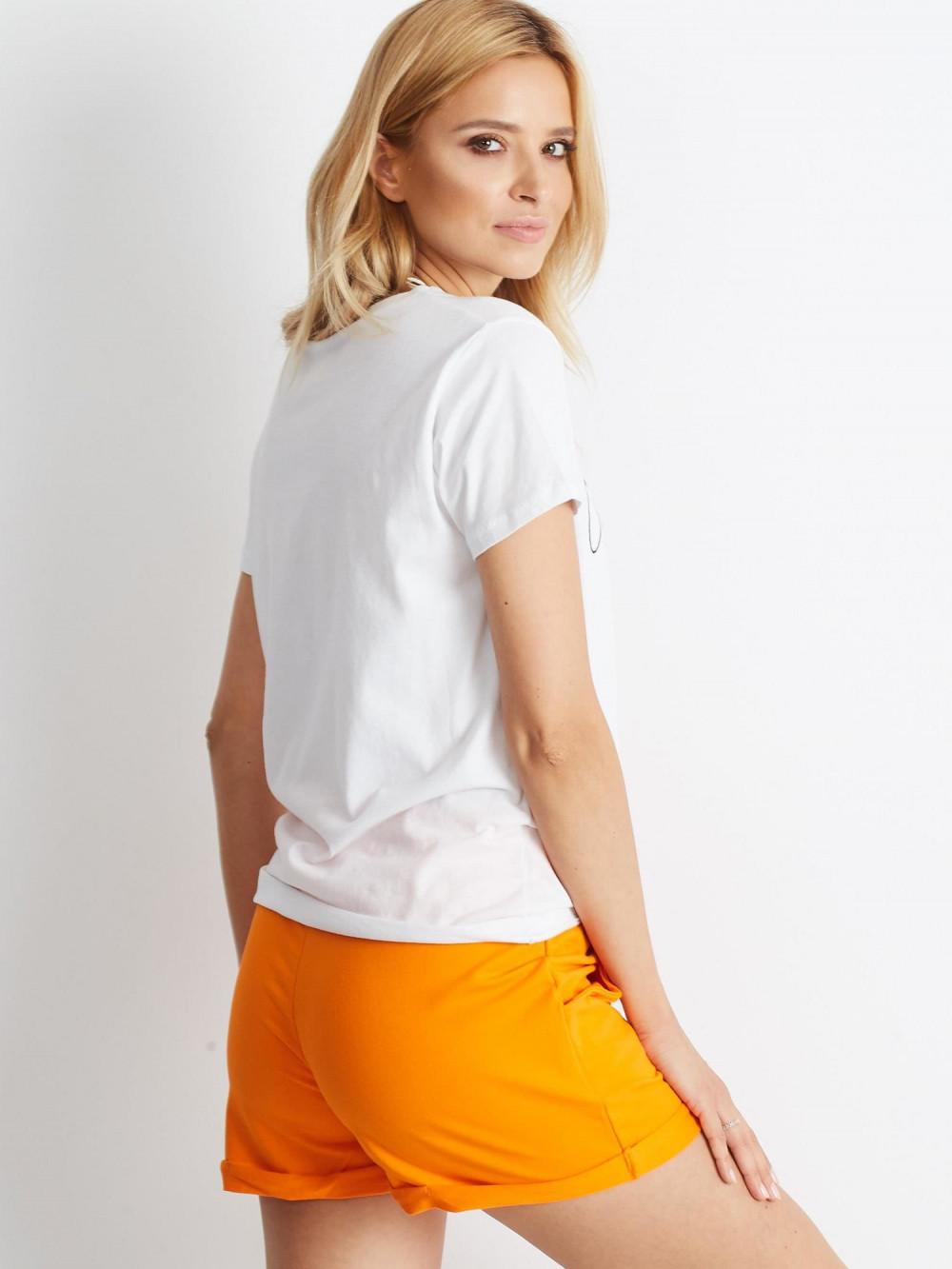 Pomarańczowe szorty damskie z wiązaniem Edel 5