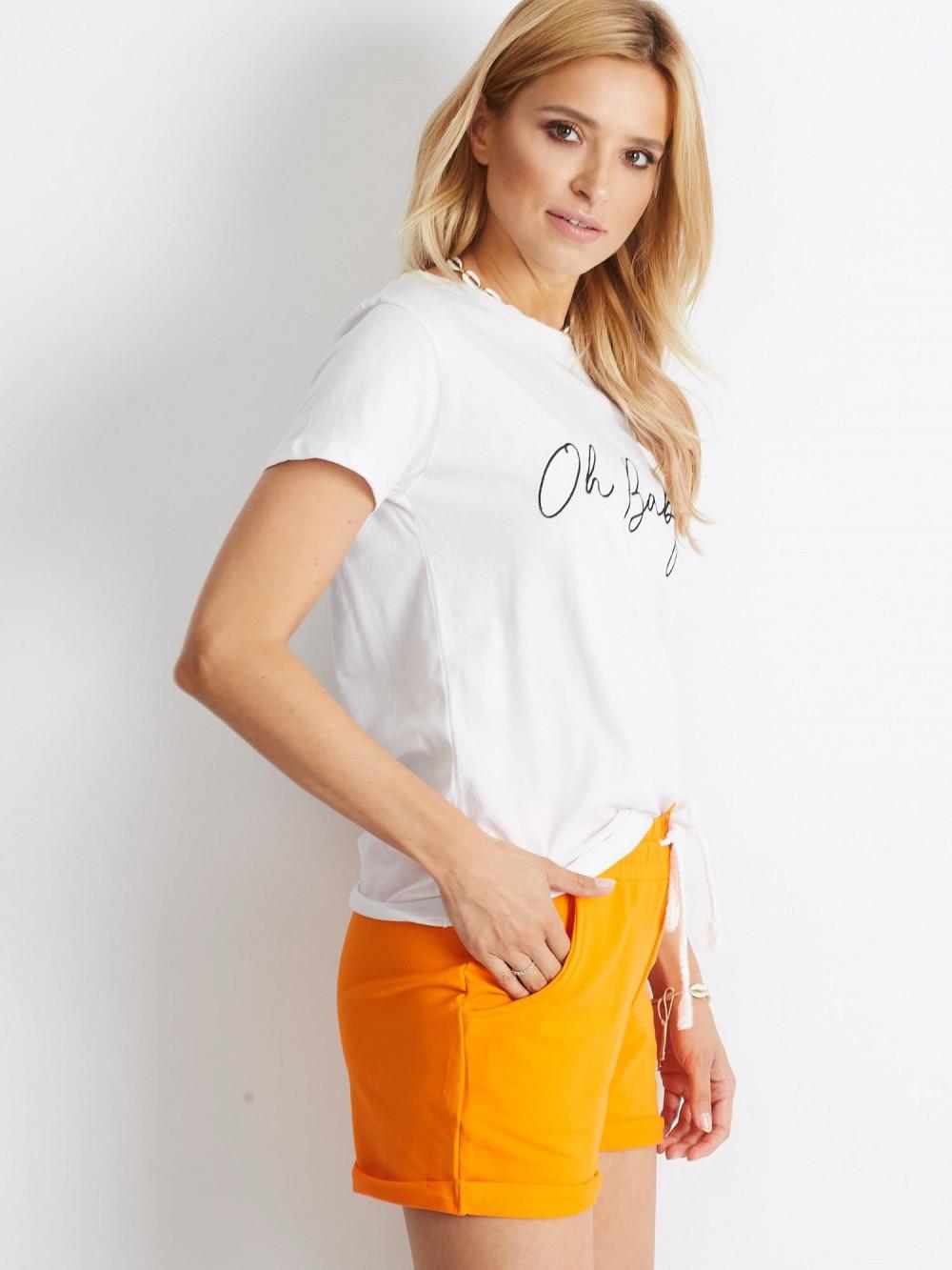 Pomarańczowe szorty damskie z wiązaniem Edel 4