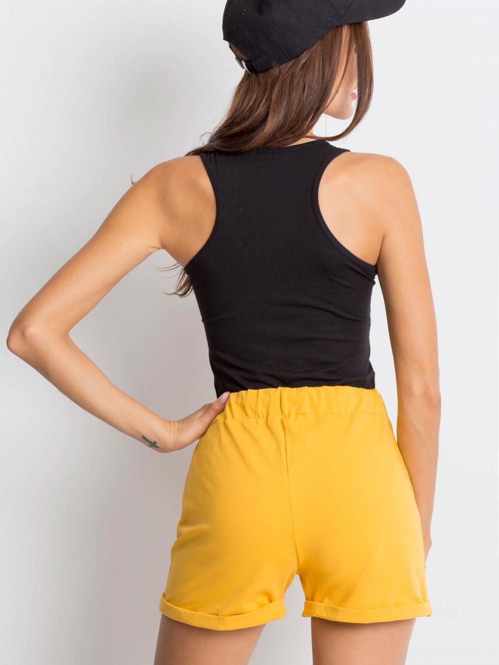 Żółte luźne szorty z wiązaniem Hibis 5