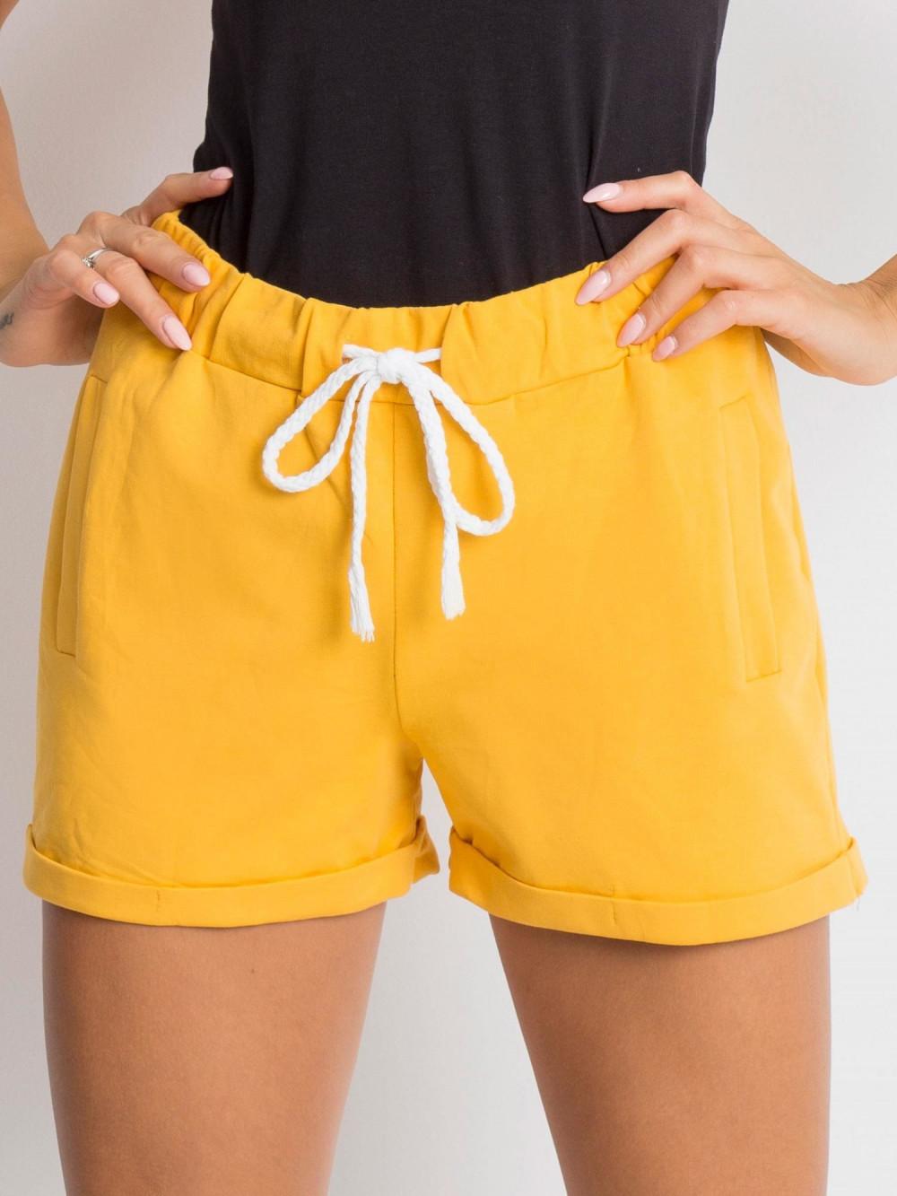 Żółte luźne szorty z wiązaniem Hibis 4
