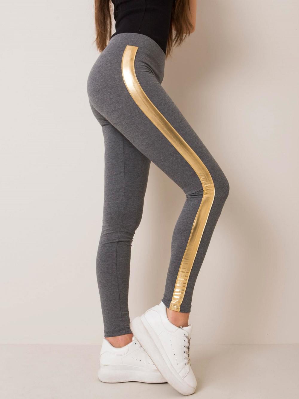 Szare legginsy fitness ze złotymi lampasami Holly 3