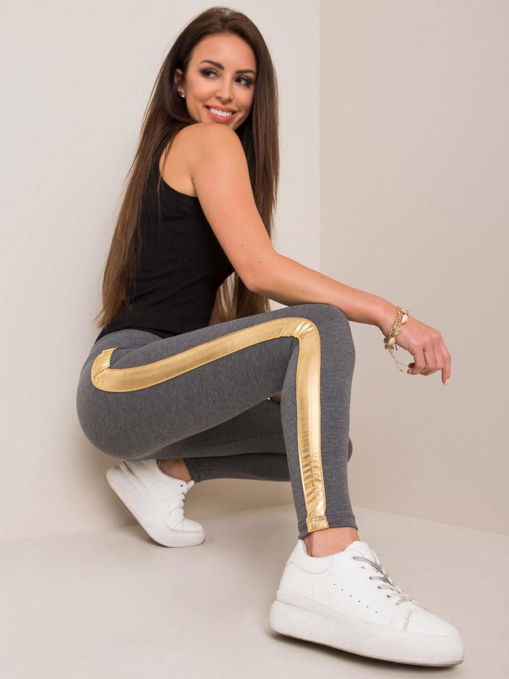 Szare legginsy fitness ze złotymi lampasami Holly 1