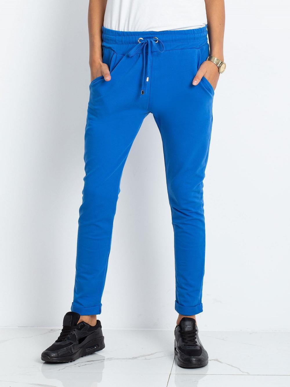 Niebieskie spodnie dresowe z kieszeniami Sage 2