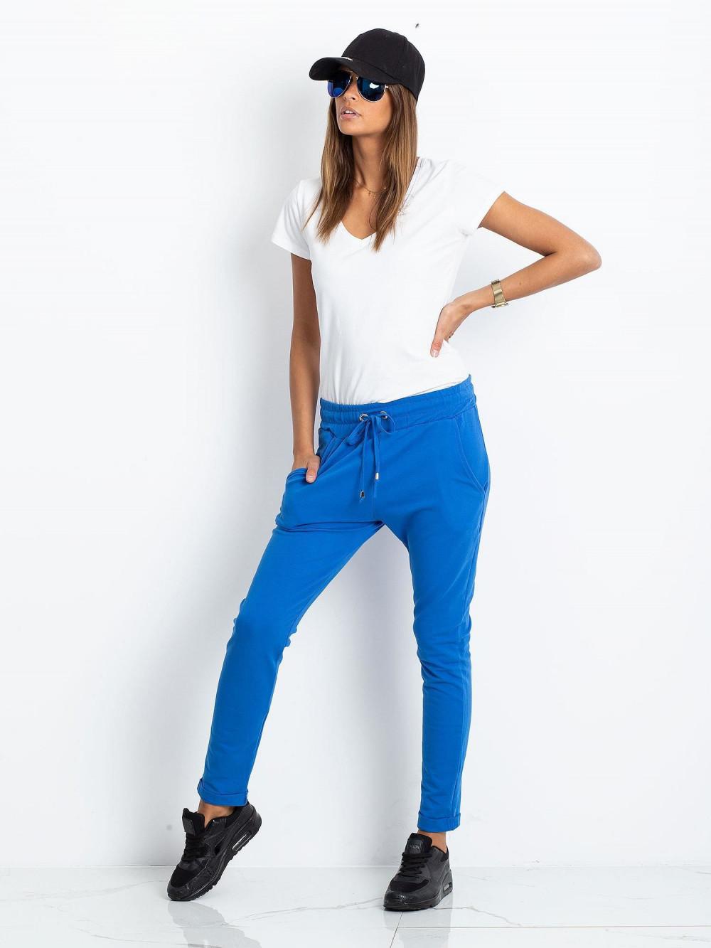 Niebieskie spodnie dresowe z kieszeniami Sage 1