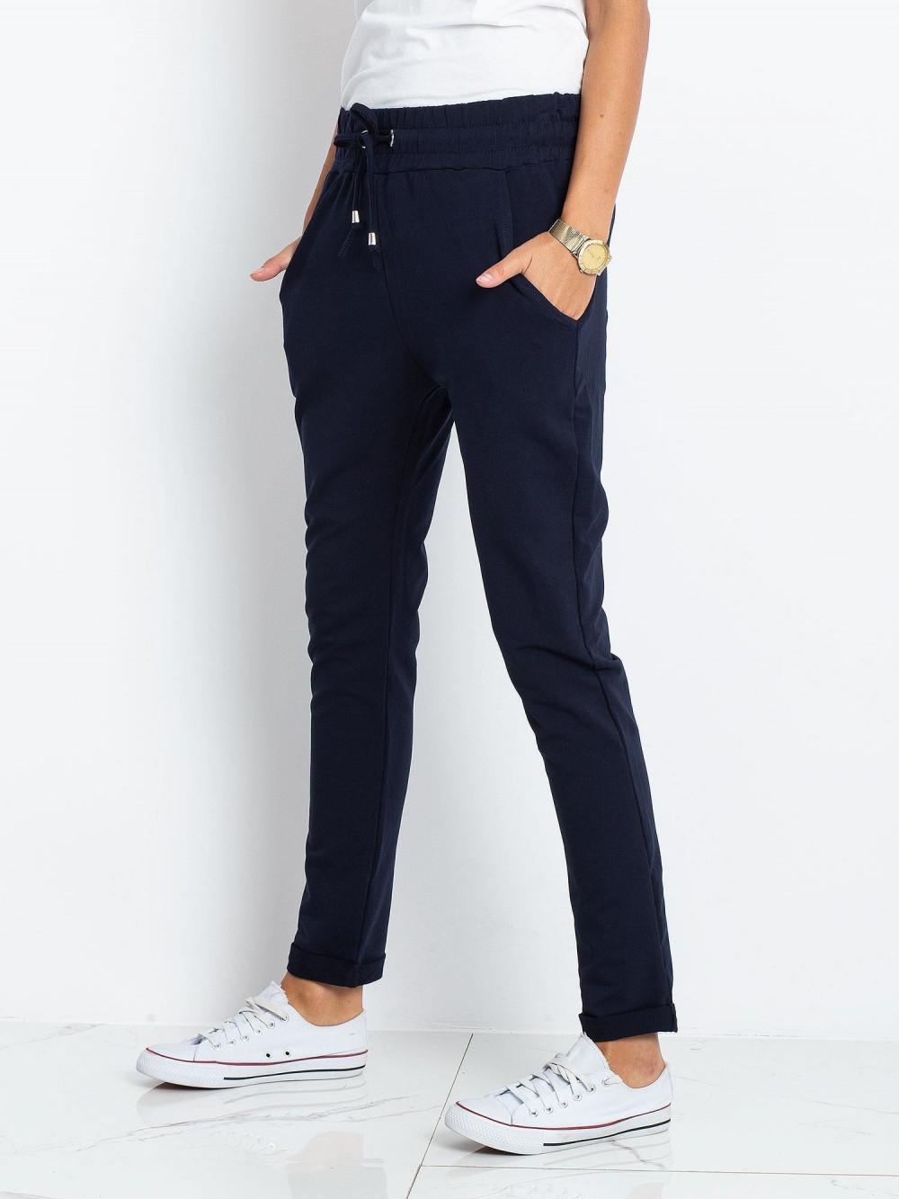 Granatowe spodnie dresowe z kieszeniami Sage 2