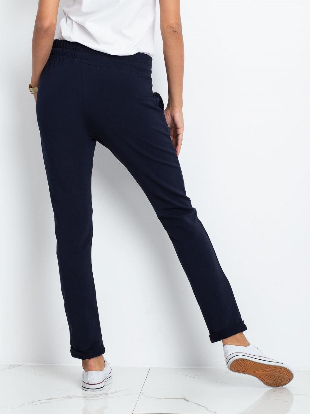 Granatowe spodnie dresowe z kieszeniami Sage 3