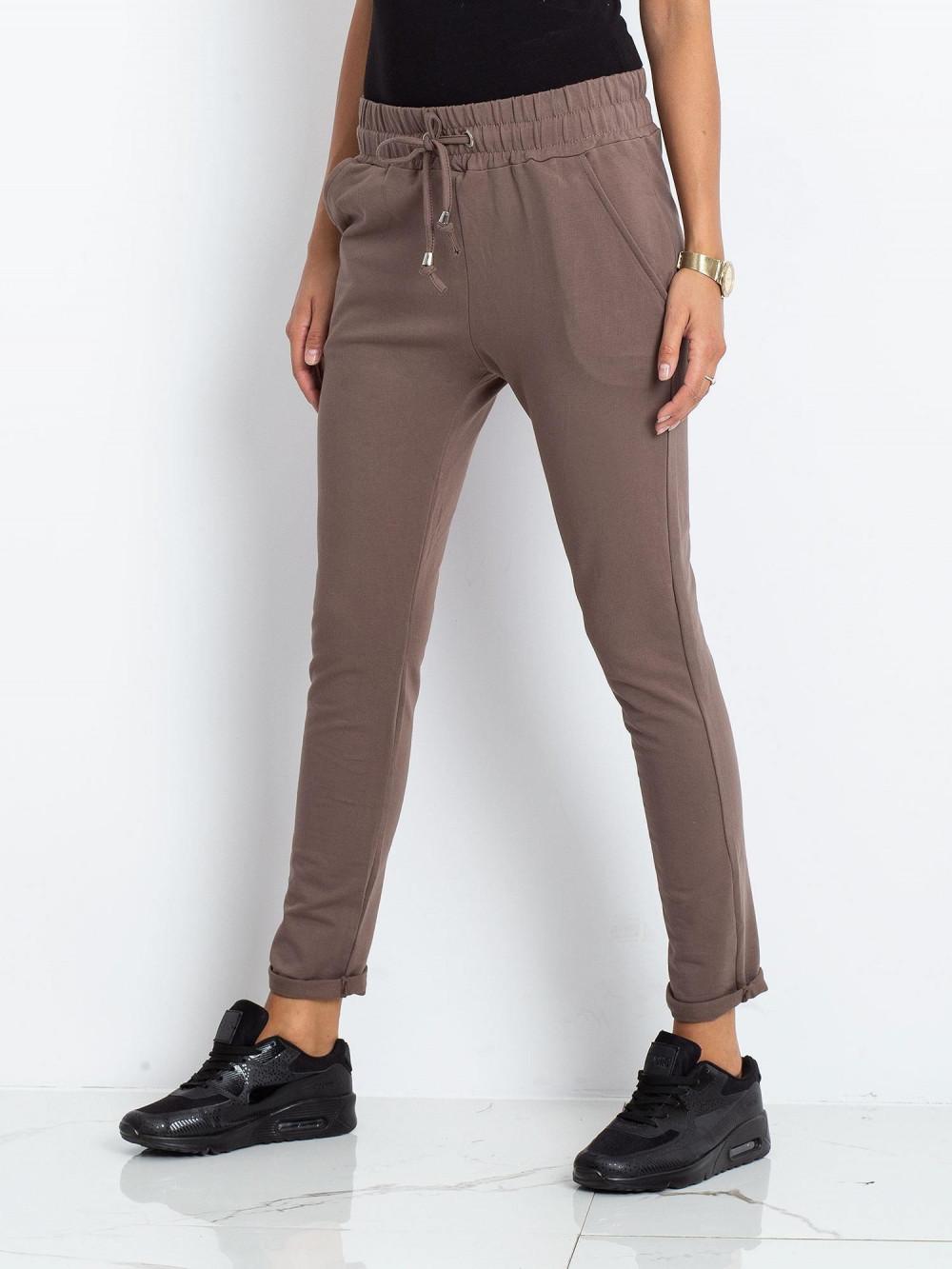 Brązowe spodnie dresowe z kieszeniami Sage 3