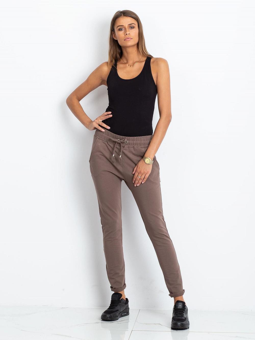 Brązowe spodnie dresowe z kieszeniami Sage 1